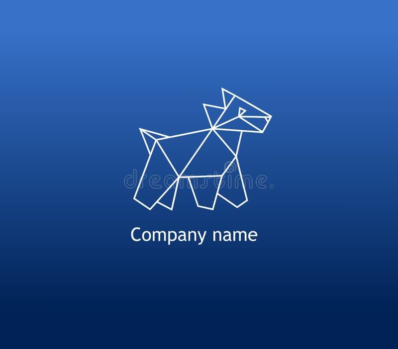 Geometrisch hondembleem Veelhoekige vectorhond op blauwe achtergrond stock foto