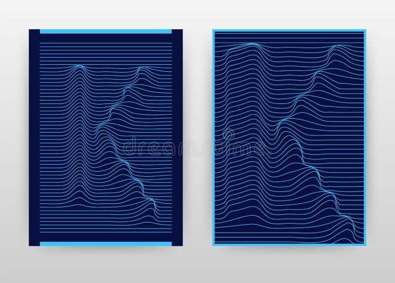 Geometrisch k-brief het golven lijnen bedrijfsontwerp voor jaarverslag, vlieger, affiche Geometrische geweven het golven blauwe v stock illustratie