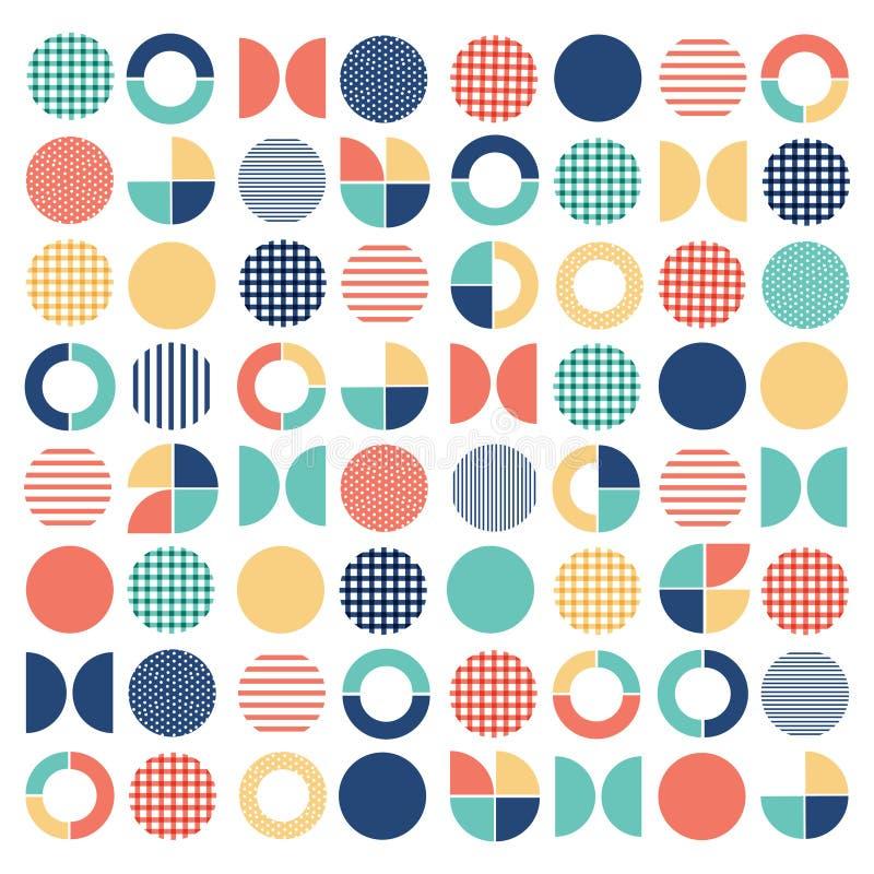 Geometrisch kleurrijk gemengd cirkel naadloos patroon vector illustratie