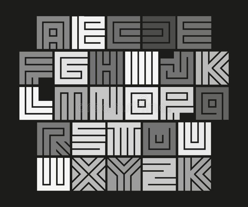 Geometrisch labyrintalfabet Geïsoleerde ongebruikelijke geplaatste tegelbrieven, abstracte vector witte doopvont op zwarte achter royalty-vrije illustratie