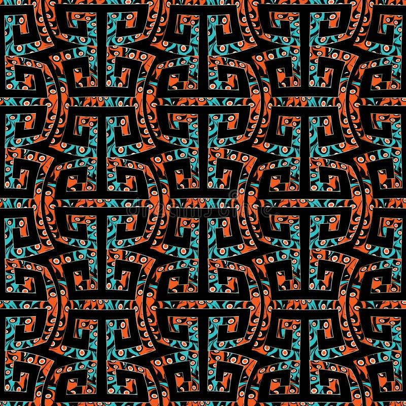 Geometrisch meander naadloos patroon met stammenornamens vector illustratie