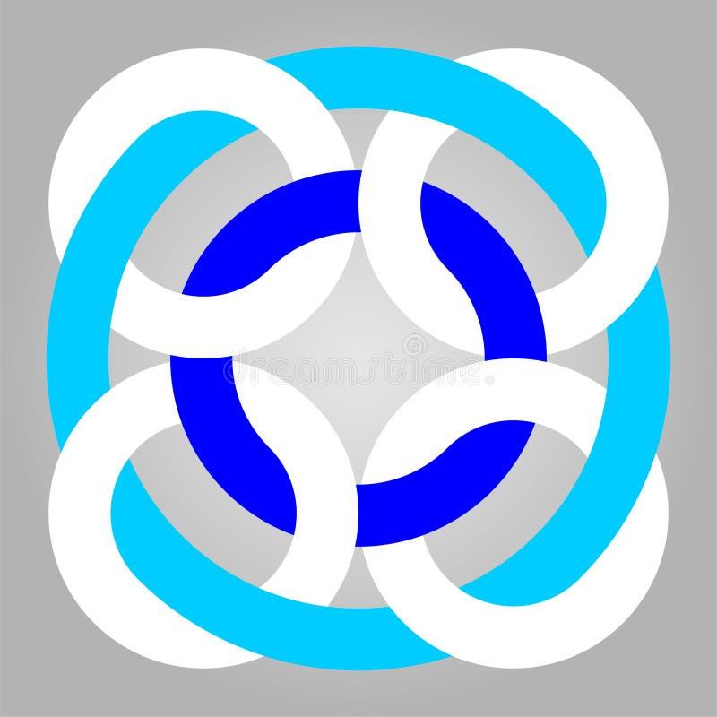 Geometrisch met elkaar verbindend het embleempatroon van de cirkels Grafisch Druk stock foto's