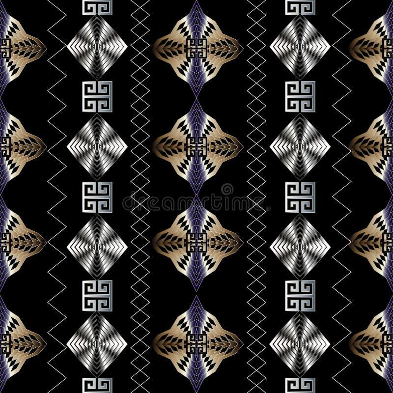 geometrisch modern naadloos patroon Zwarte vectormeetkunde abstrac royalty-vrije illustratie