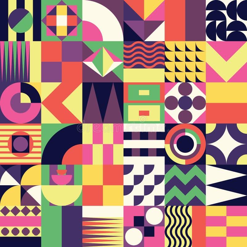 Geometrisch mozaïek naadloos patroon stock illustratie