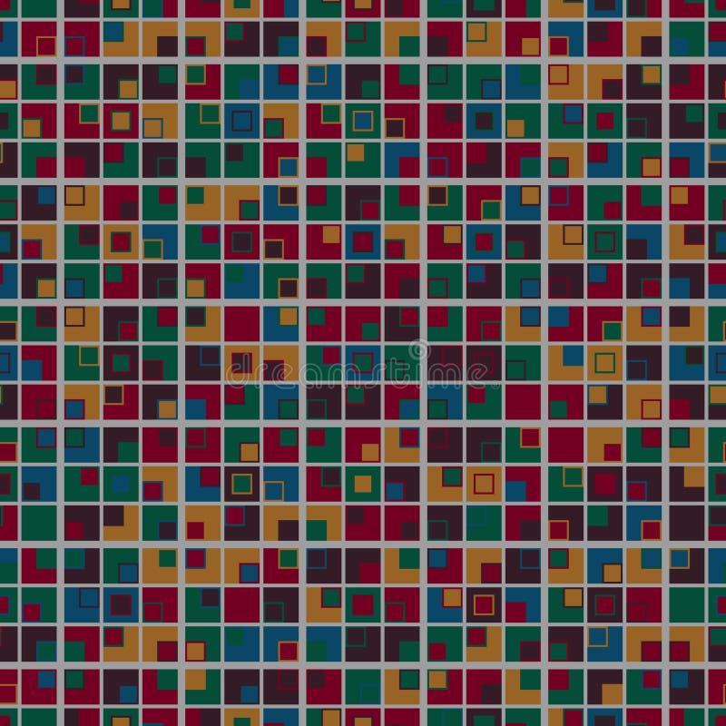 Geometrisch mozaïek naadloos patroon De multicolored elementen worden geschikt op een lichtgrijze achtergrond en hebben een vierk royalty-vrije illustratie