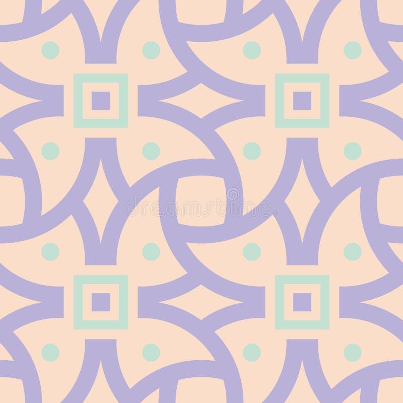 Geometrisch multi gekleurd naadloos patroon Beige achtergrond met violette en blauwe ontwerpelementen royalty-vrije illustratie