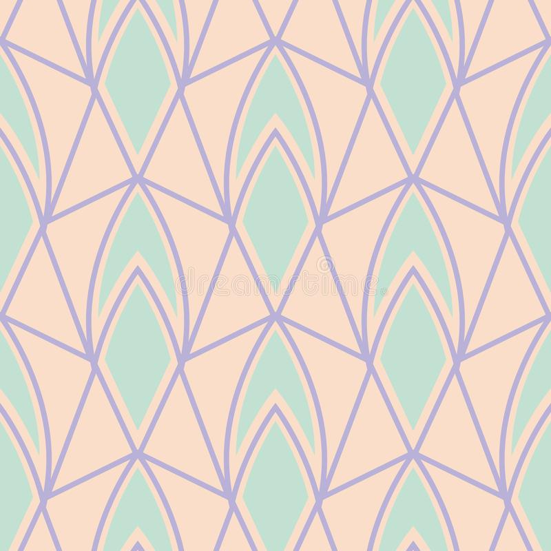 Geometrisch multi gekleurd naadloos patroon Beige achtergrond met violette en blauwe ontwerpelementen vector illustratie