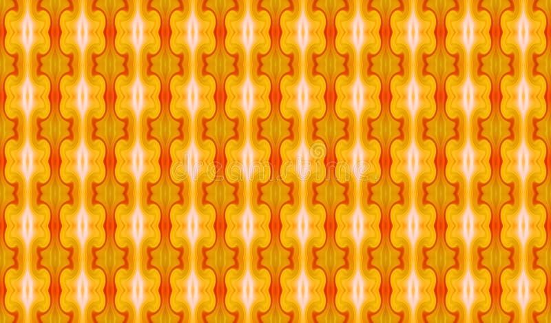 Geometrisch naadloos abstract ornament in geel-heet colors_ stock afbeelding