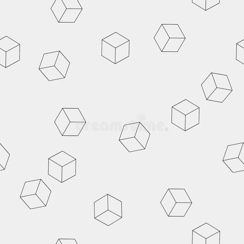 Geometrisch naadloos eenvoudig zwart-wit minimalistic patroon van kubusvormen royalty-vrije illustratie