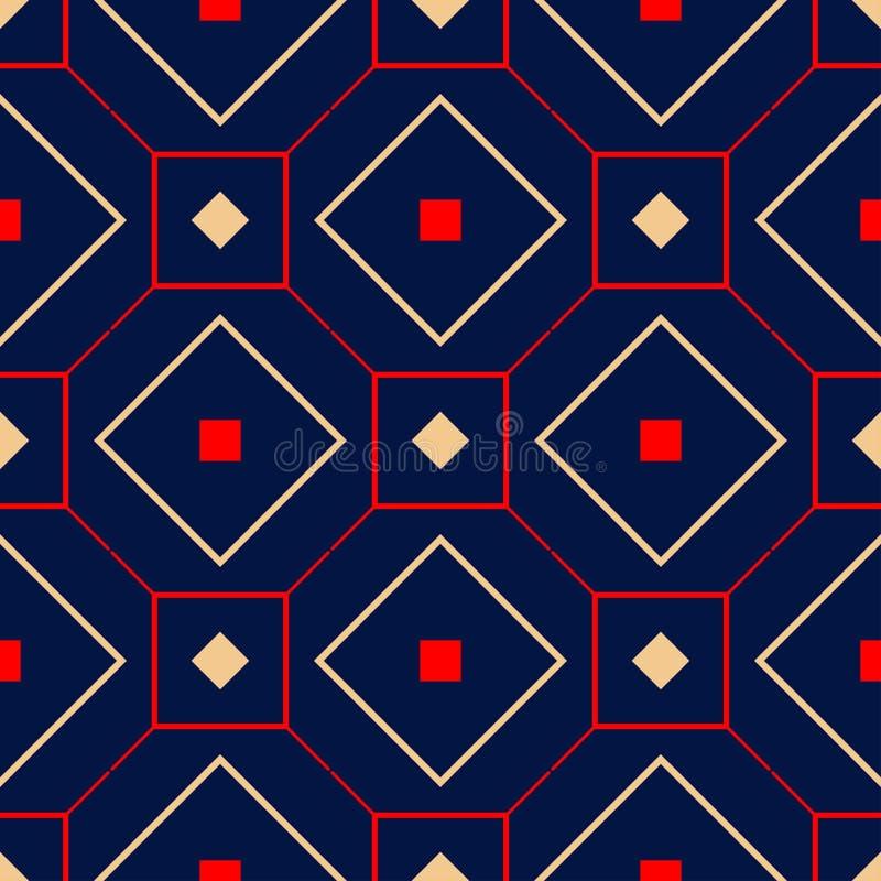 geometrisch naadloos patroon Gekleurd rood en beige ontwerp op blauwe achtergrond stock illustratie