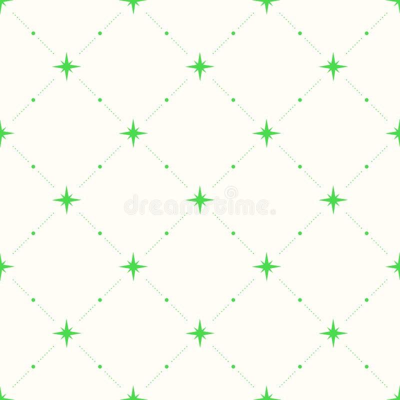 Geometrisch naadloos patroon met punten en sterren stock illustratie