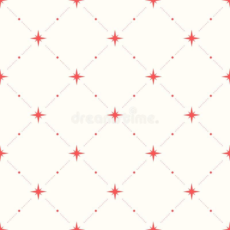 Geometrisch naadloos patroon met punten en sterren royalty-vrije illustratie
