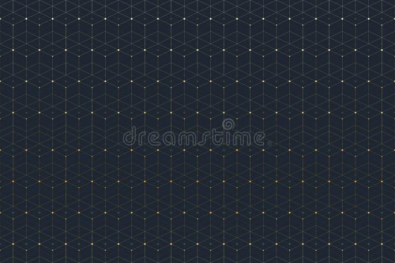 Geometrisch naadloos patroon met verbonden lijn en punten vector illustratie