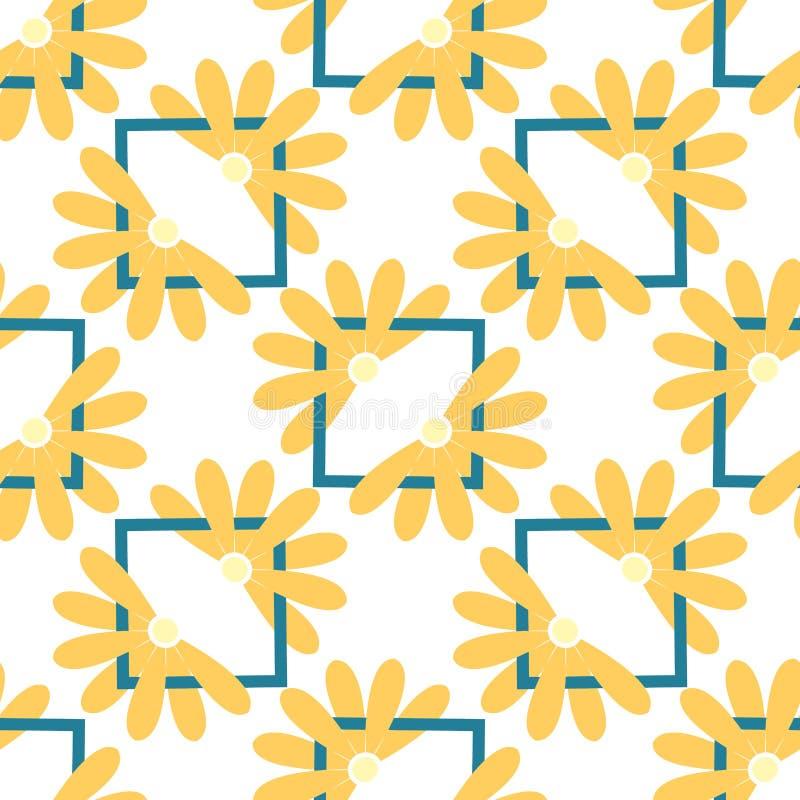 Geometrisch naadloos patroon met vierkante kaders en kleuren Vector stock illustratie