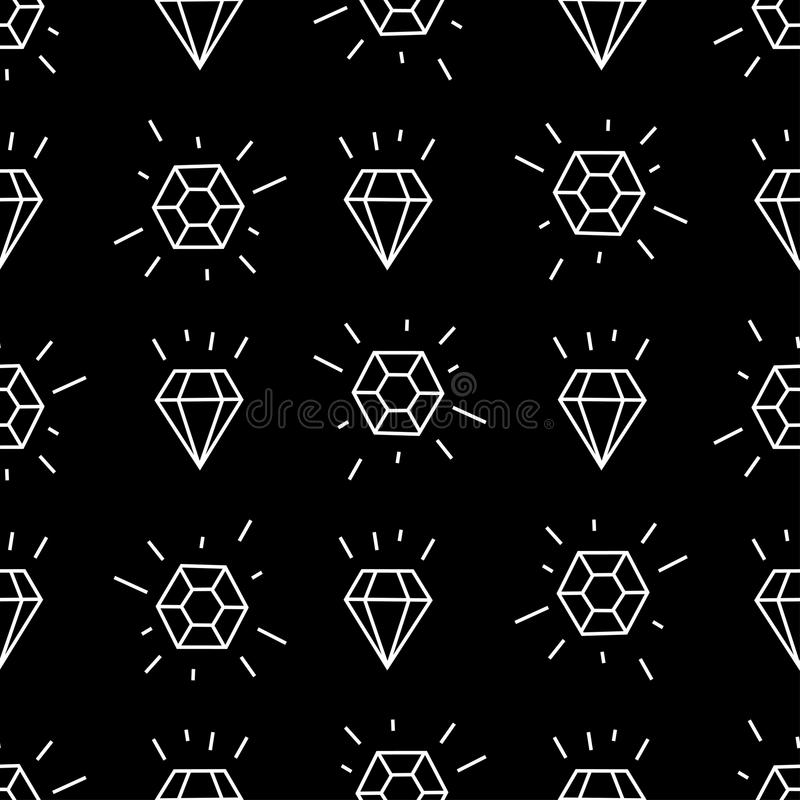 Geometrisch naadloos patroon met witte lineaire diamanten Het eenvoudige patroon van de beeldverhaaldiamant vector illustratie