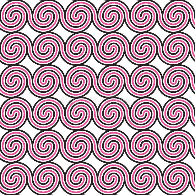Geometrisch naadloos patroon met zwarte en roze spiralen Abstracte heldere textuur vector illustratie