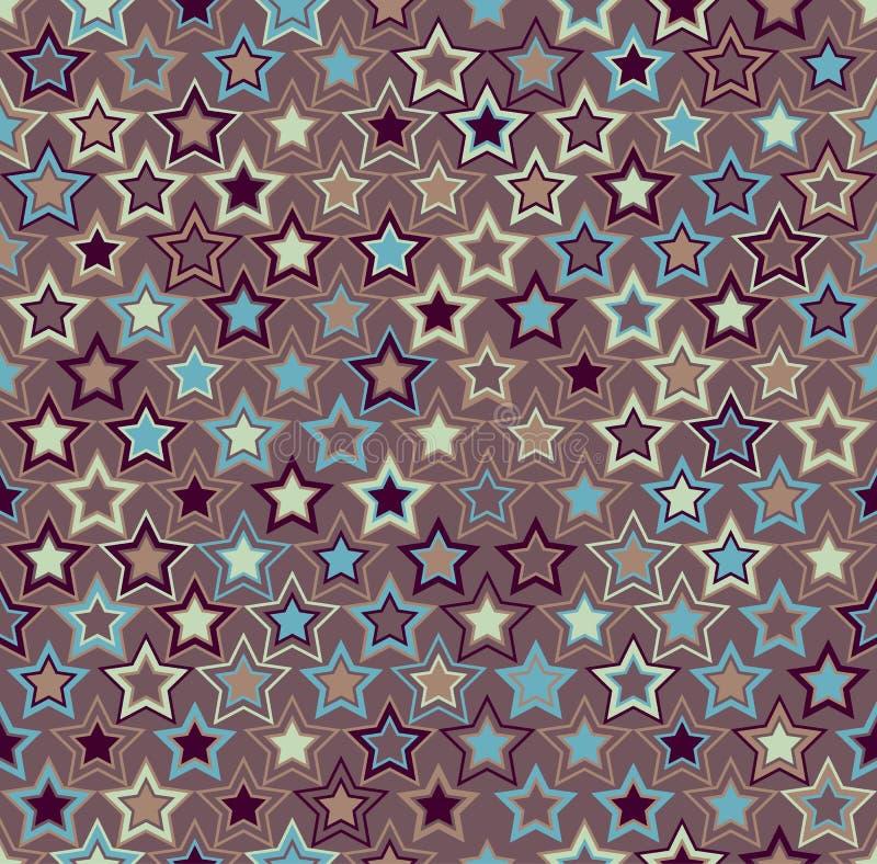 geometrisch naadloos patroon Multicolored sterren op een bruine achtergrond royalty-vrije illustratie