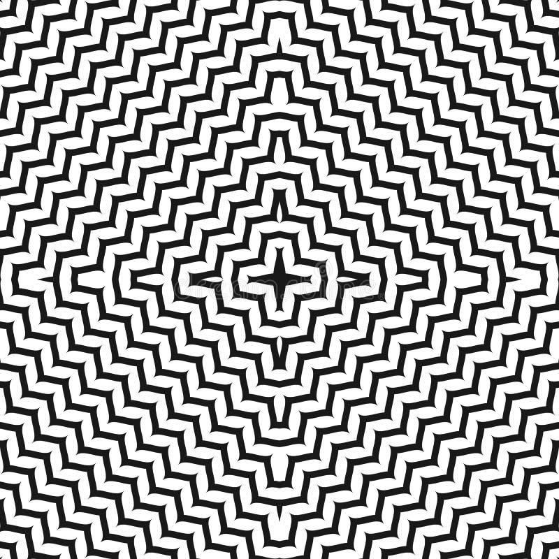 Geometrisch naadloos patroon, ornamenttextuur met concentrische zig stock illustratie