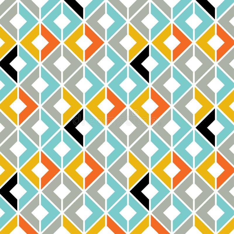 Geometrisch Naadloos Patroon in Tegenover elkaar stellende Kleuren stock afbeeldingen