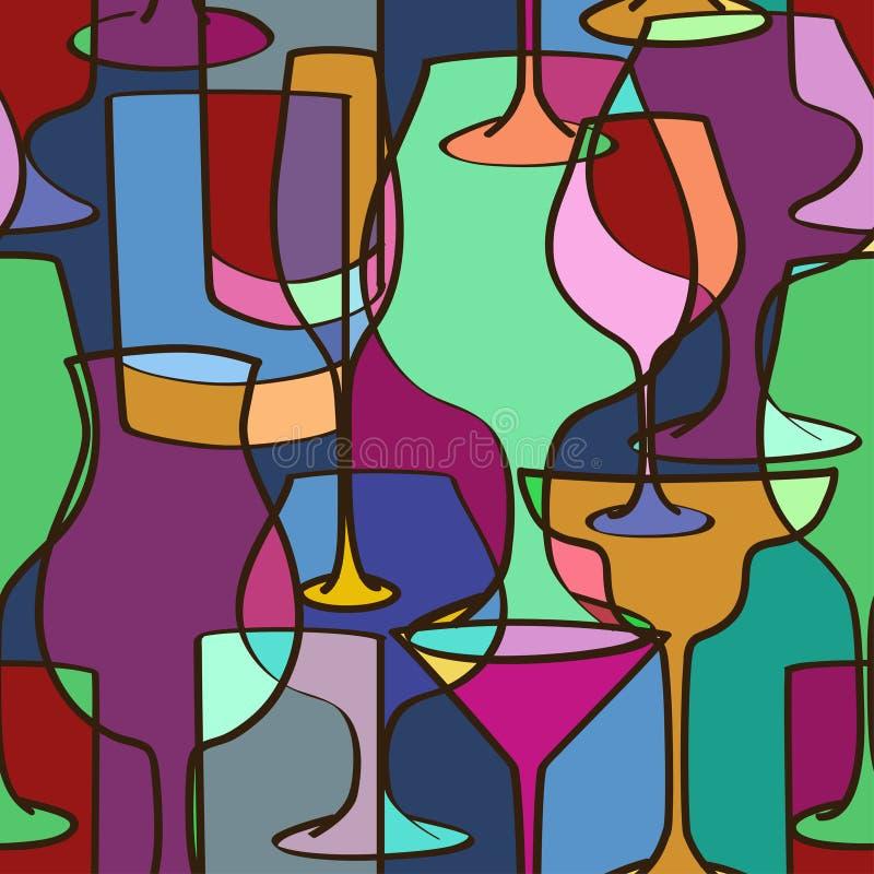 Geometrisch naadloos patroon van glazen stock illustratie