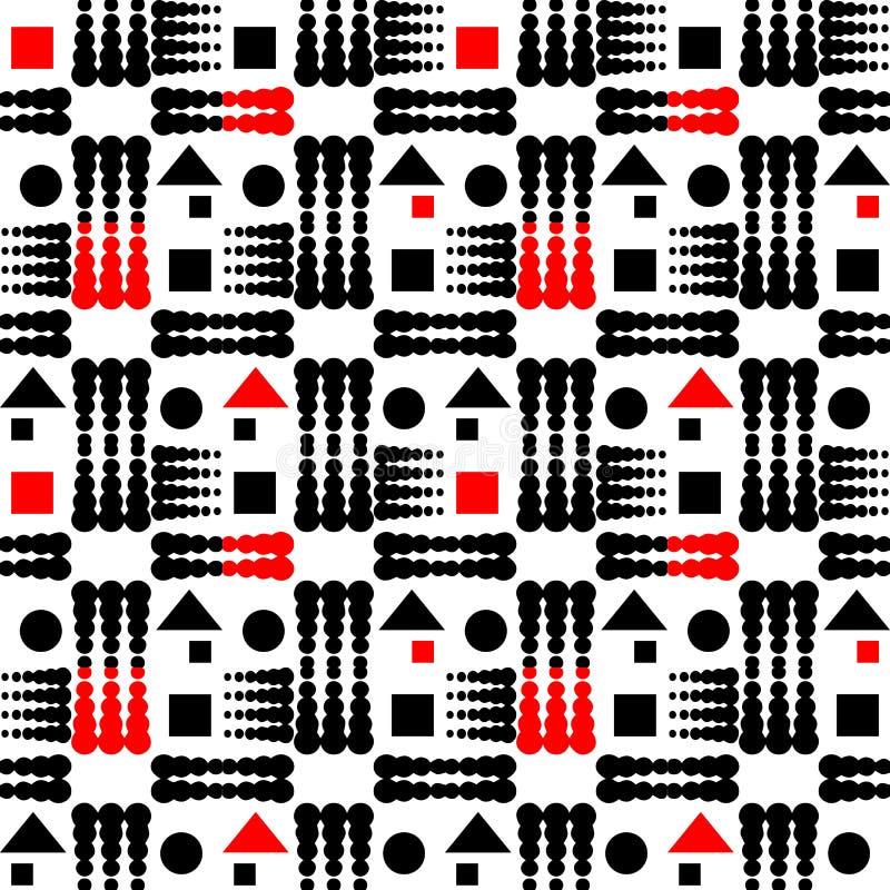 geometrisch naadloos patroon Vector sier abstracte achtergrond Geometrisch ornament met halftone, punten, cirkels, vierkanten, vector illustratie