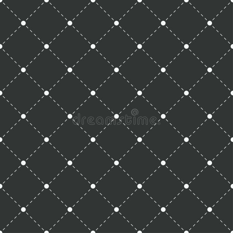 geometrisch naadloos patroon Witte punten met gestormde lijnen op zwarte achtergrond Vector illustratie royalty-vrije illustratie