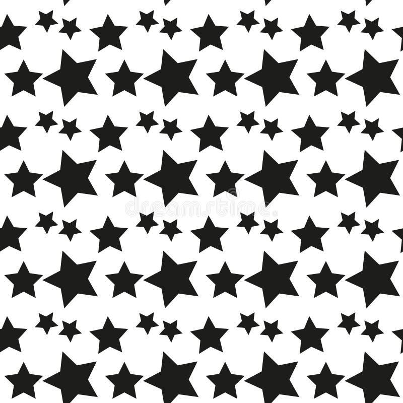 geometrisch naadloos patroon Zwart-wit willekeurig abstracte vectortextuur met sterren royalty-vrije illustratie