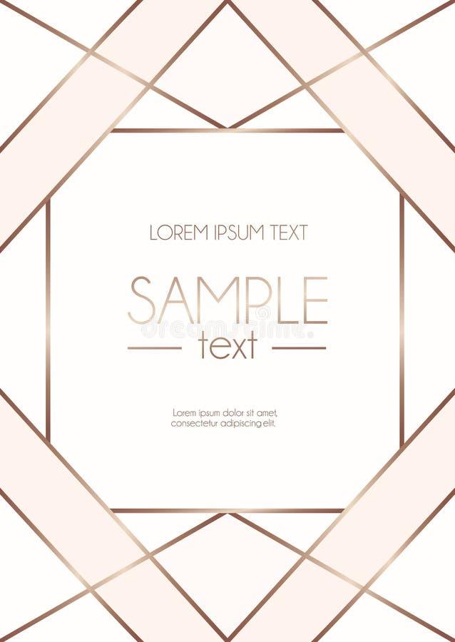 Geometrisch nam gouden ontwerpmalplaatje met blozen roze en wit ab toe royalty-vrije illustratie