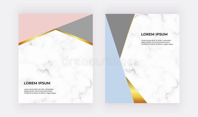 Geometrisch ontwerpkaarten met blauwe, roze en gouden driehoeken op de marmeren textuur Moderne malplaatjes voor huwelijksuitnodi vector illustratie
