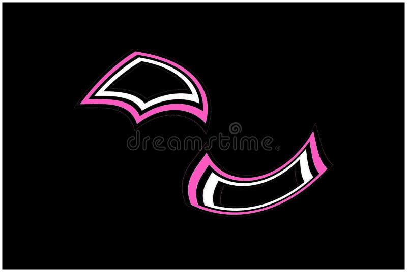 Geometrisch patroon: Drijvende zwarte, roze en witte diamanten stock illustratie