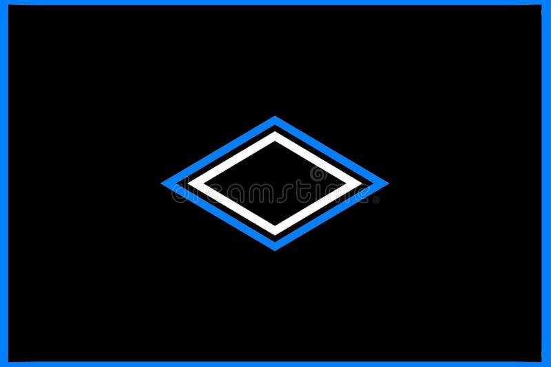 Geometrisch patroon: gecentreerde zwarte, blauwe en witte diamanten vector illustratie