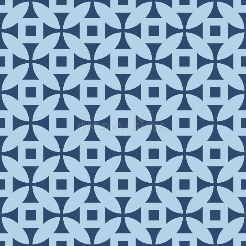Geometrisch patroon in herhaling Stoffendruk Naadloze achtergrond, mozaïekornament, etnische stijl Twee kleur royalty-vrije illustratie