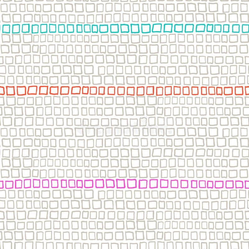 Geometrisch patroon met kleine hand getrokken vierkanten stock illustratie