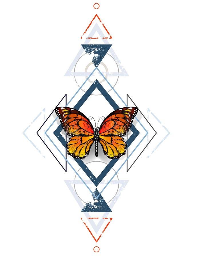 Geometrisch patroon met monarchvlinders stock illustratie