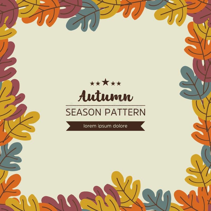 Geometrisch patroon van de herfstbladeren en takjes stock illustratie