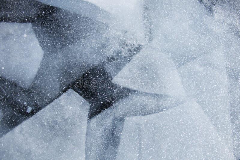 Geometrisch patroon van het meerijs van Baikal De wintertextuur royalty-vrije stock afbeelding