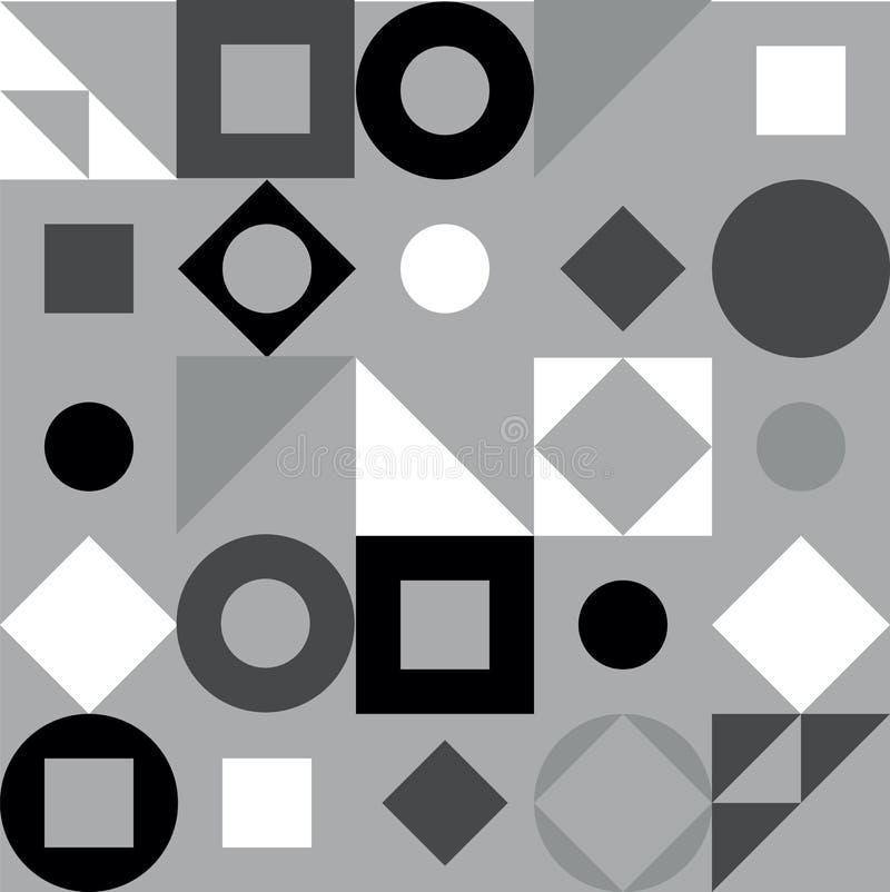 Geometrisch patroon in zwart-witte stijl Abstracte driehoek, cirkel, vierkant, ruit naadloze achtergrond Witte zwarte, vector illustratie