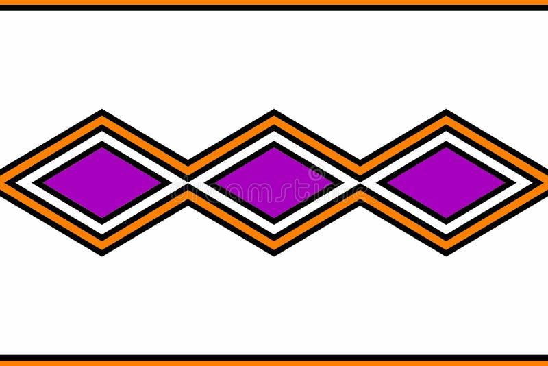 Geometrisch patroon: zwarte, purpere oranje en witte diamanten royalty-vrije illustratie