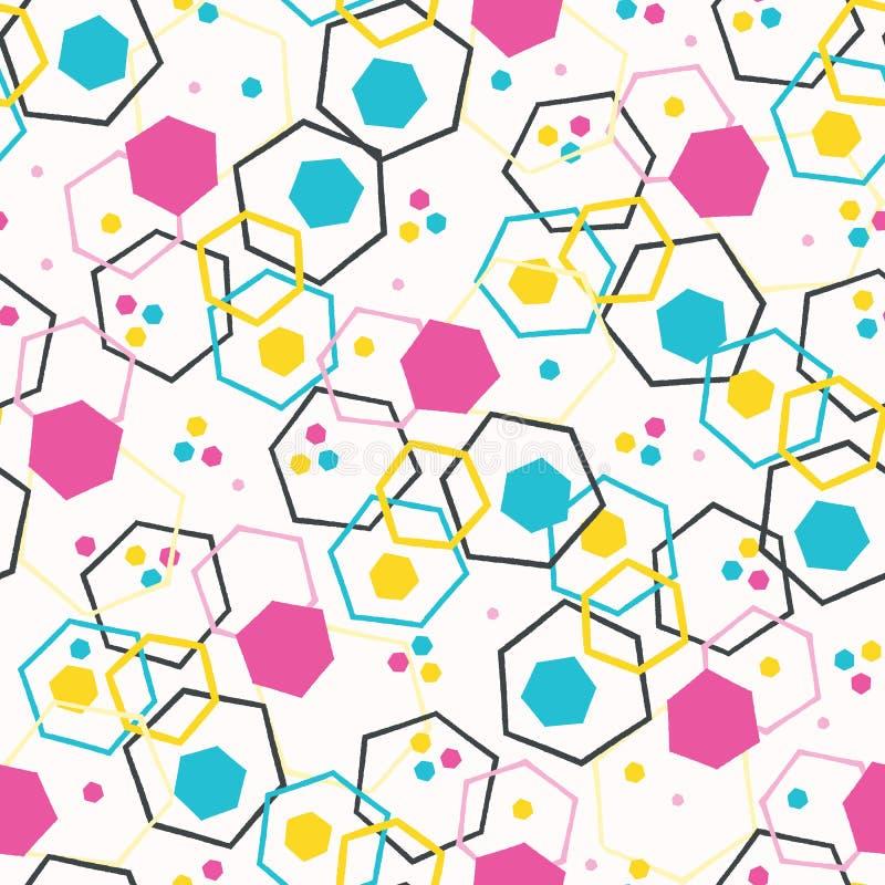 Geometrisch retro hexagon vorm naadloos patroon Overal druk vectorachtergrond De stijlmanier van Memphis van de zomerjaren '50 vector illustratie