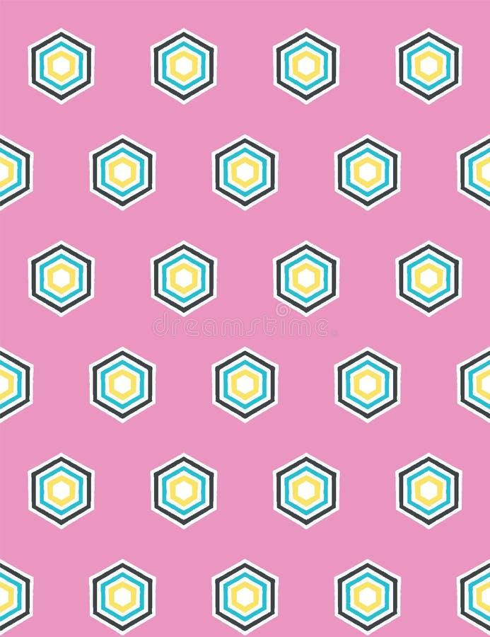 Geometrisch retro hexagon vorm naadloos patroon Overal druk vectorachtergrond Van de het dekbedtegel van de zomerjaren '50 de man royalty-vrije illustratie