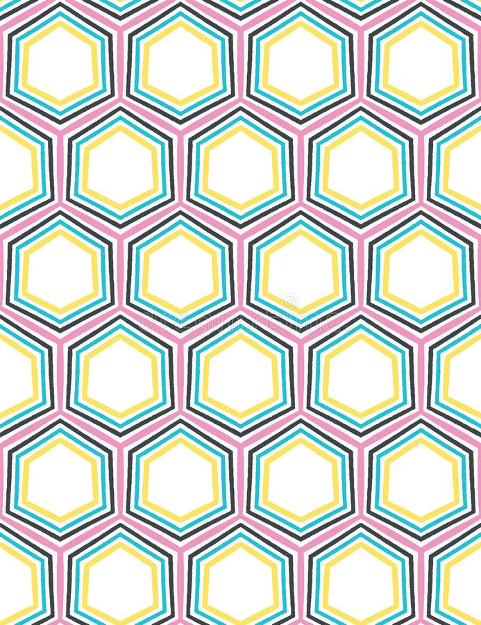 Geometrisch retro hexagon vorm naadloos patroon Overal druk vectorachtergrond Van de het dekbedtegel van de zomerjaren '50 de man stock illustratie