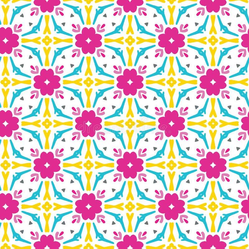 Geometrisch retro vierkant vormen naadloos patroon Overal druk vectorachtergrond Mooie van de het dekbedtegel van de zomerjaren ' stock illustratie