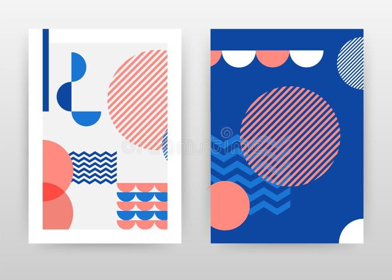 Geometrisch rond blauw rood van bedrijfs zigzaglijnen ontwerp als achtergrond voor jaarverslag, brochure, vlieger, affiche Meetku royalty-vrije illustratie