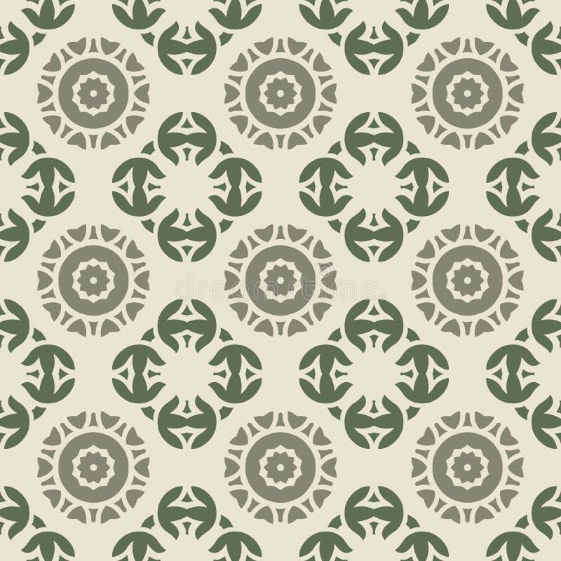 Geometrisch rond vorm bloemen vector naadloos patroon - de inzamelingen van het stoffenontwerp royalty-vrije illustratie