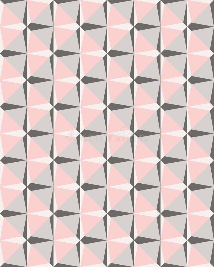 Geometrisch roze en grijs mozaïek vector naadloos patroon stock illustratie