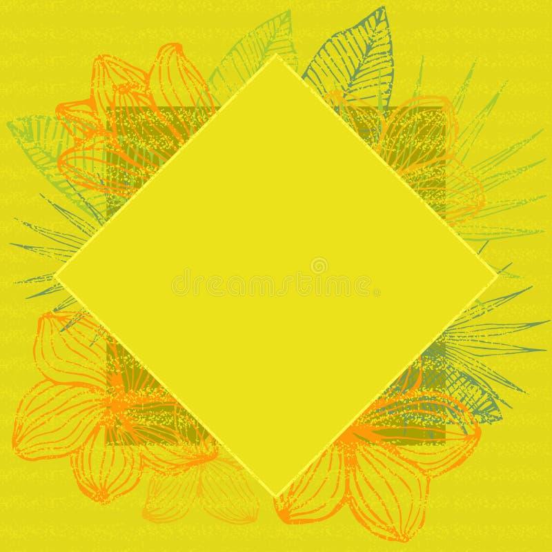 Geometrisch tropisch kader, natuurlijk exemplaar ruimte geel zonnig ontwerp vector illustratie