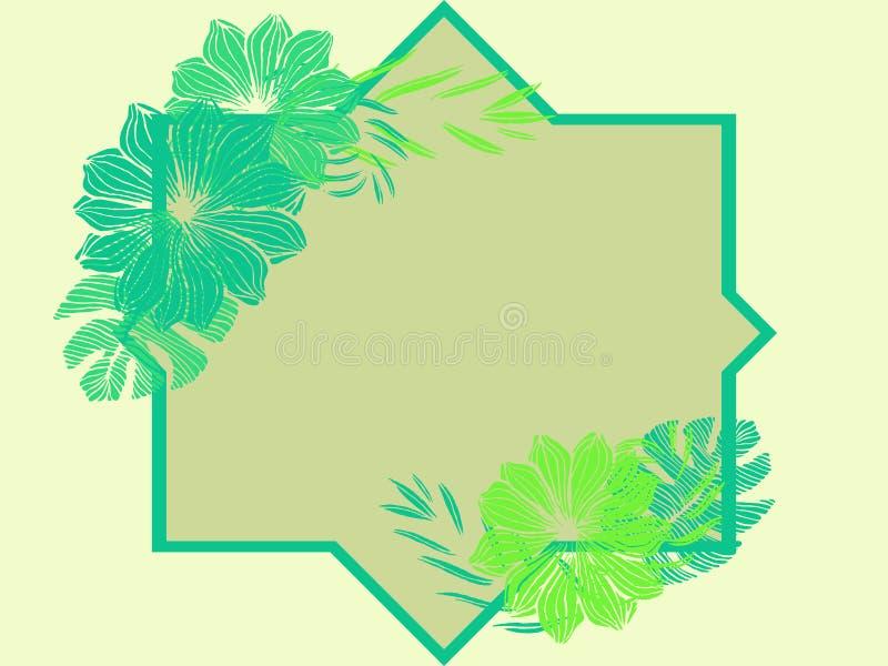 Geometrisch tropisch kader, natuurlijk exemplaar ruimteontwerp met groene plumeriabloemen royalty-vrije illustratie