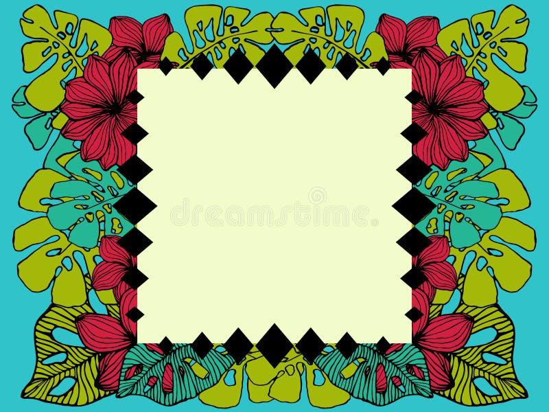 Geometrisch tropisch kader, natuurlijk exemplaar ruimteontwerp met plumeriabloemen en palmbladen royalty-vrije illustratie