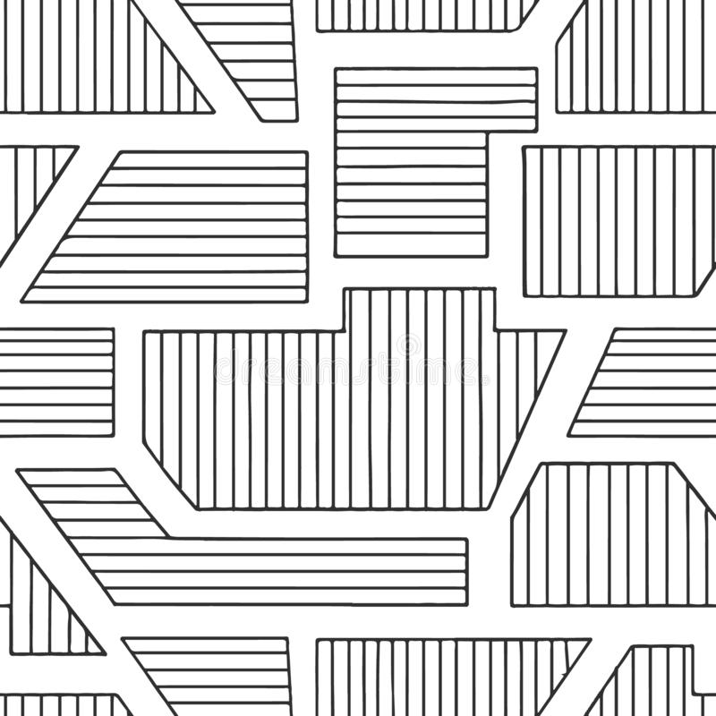 Geometrisch vector naadloos patroon met verschillende geometrische vormen Gestreept vierkant, driehoek, rechthoek Moderne techno  stock illustratie