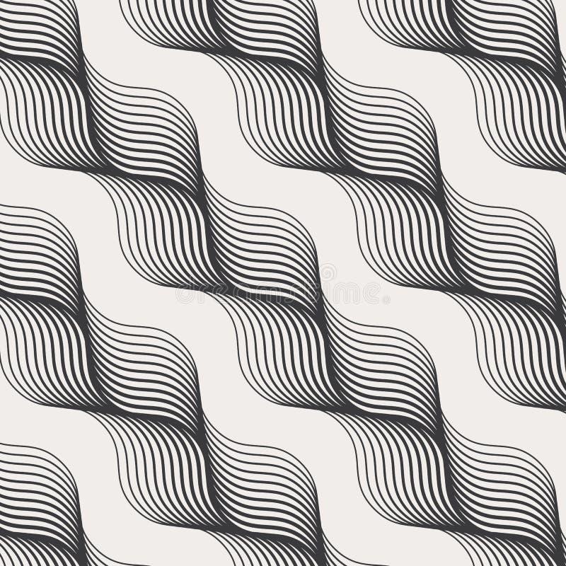 Geometrisch vectorpatroon, die abstract diagonaal haarvlechten, zwart-wit stijlen herhalen Grafische schoon voor behang, stof vector illustratie